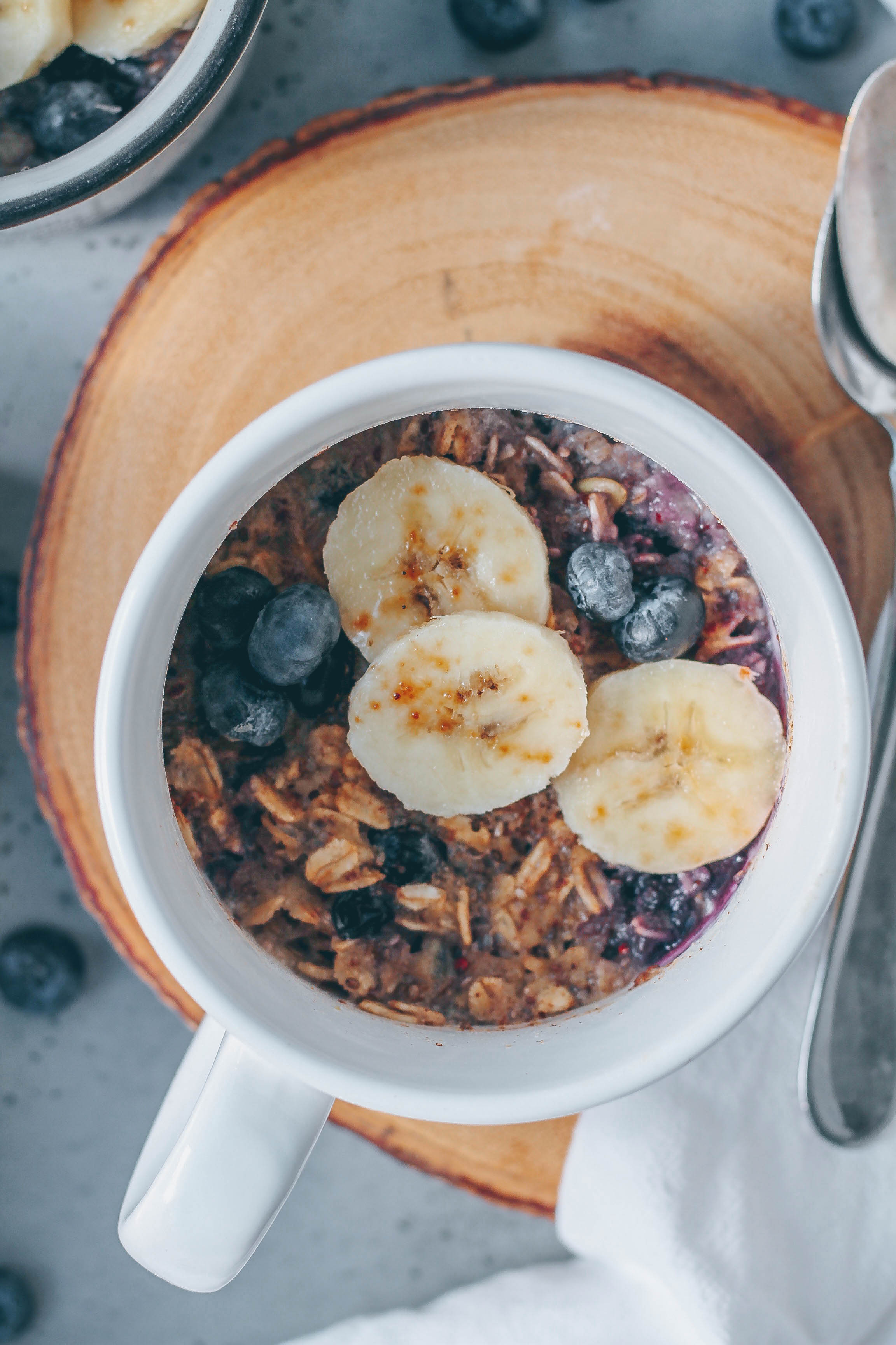 Microwave Blueberry Baked Oatmeal In A Mug Healthienut Easy To Follow Plant Based Recipes