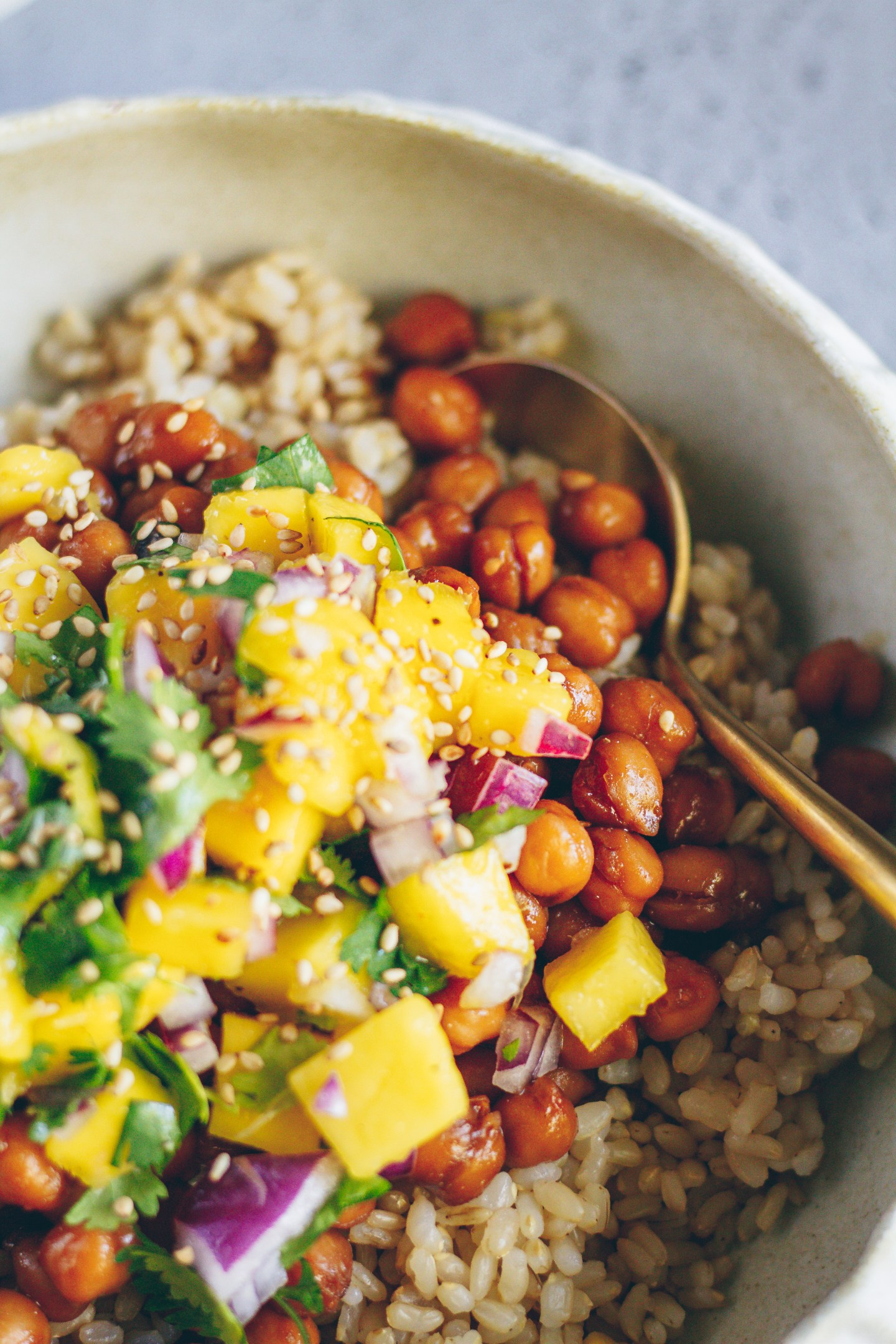 sweet and sour glazed chickpeas with mango salsa