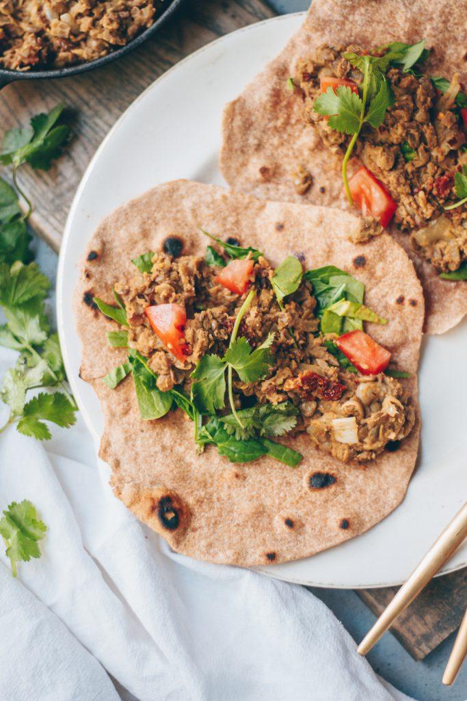 creamy tahini lentil wraps