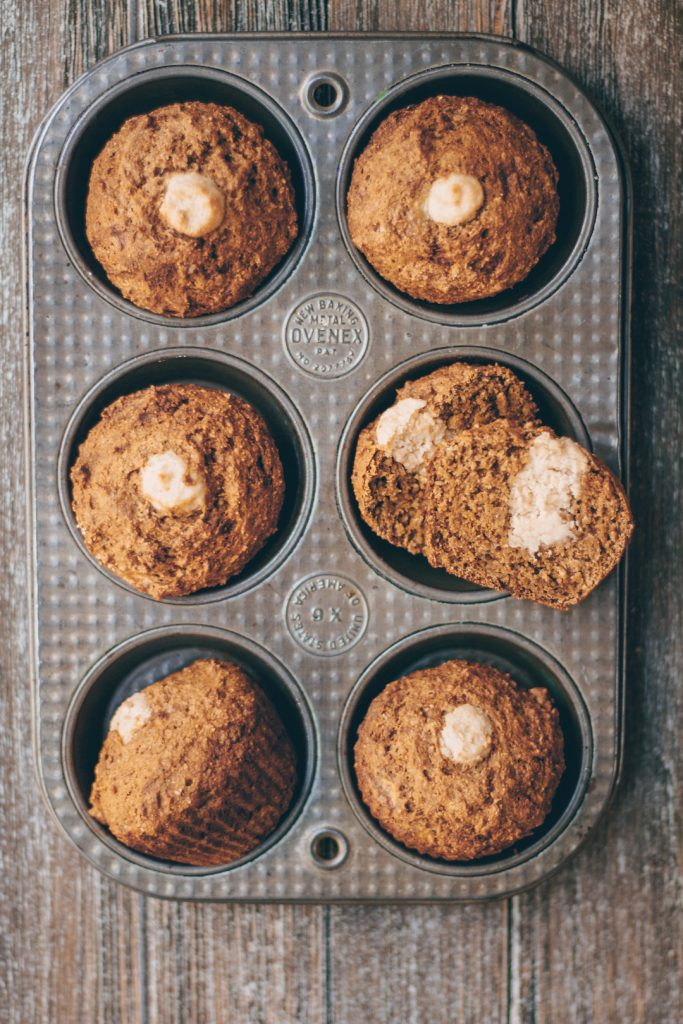 Vegan Cream Cheese-Filled Banana Muffins