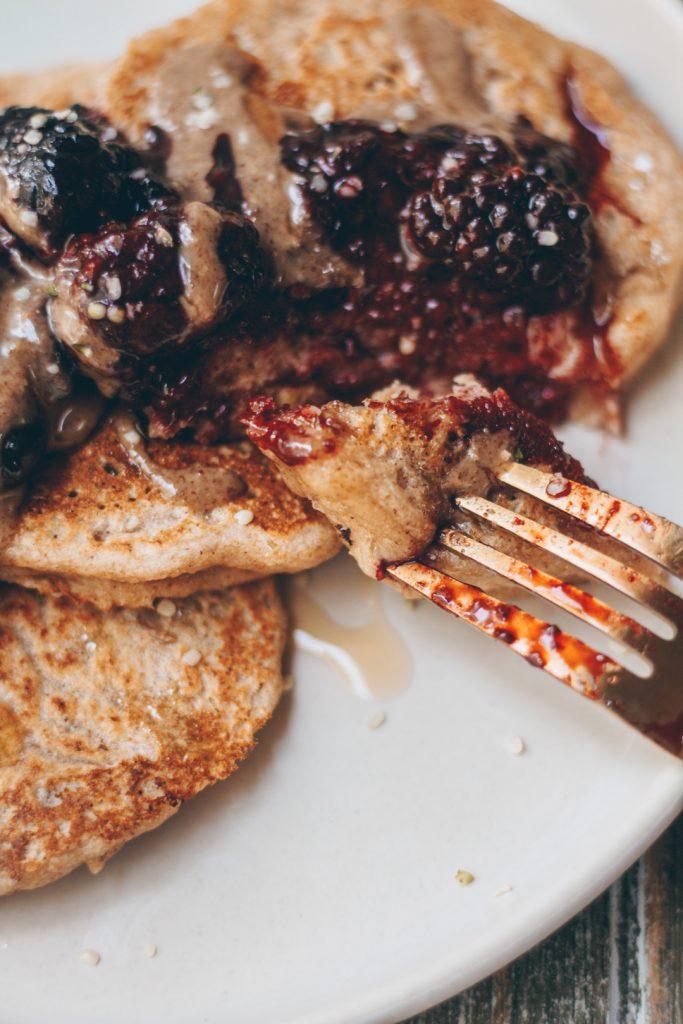 fluffy vegan sourdough pancakes