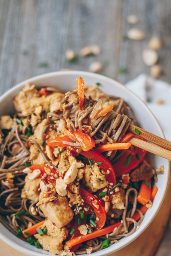 Sesame Soba Noodle Stir Fry with Crispy Tofu