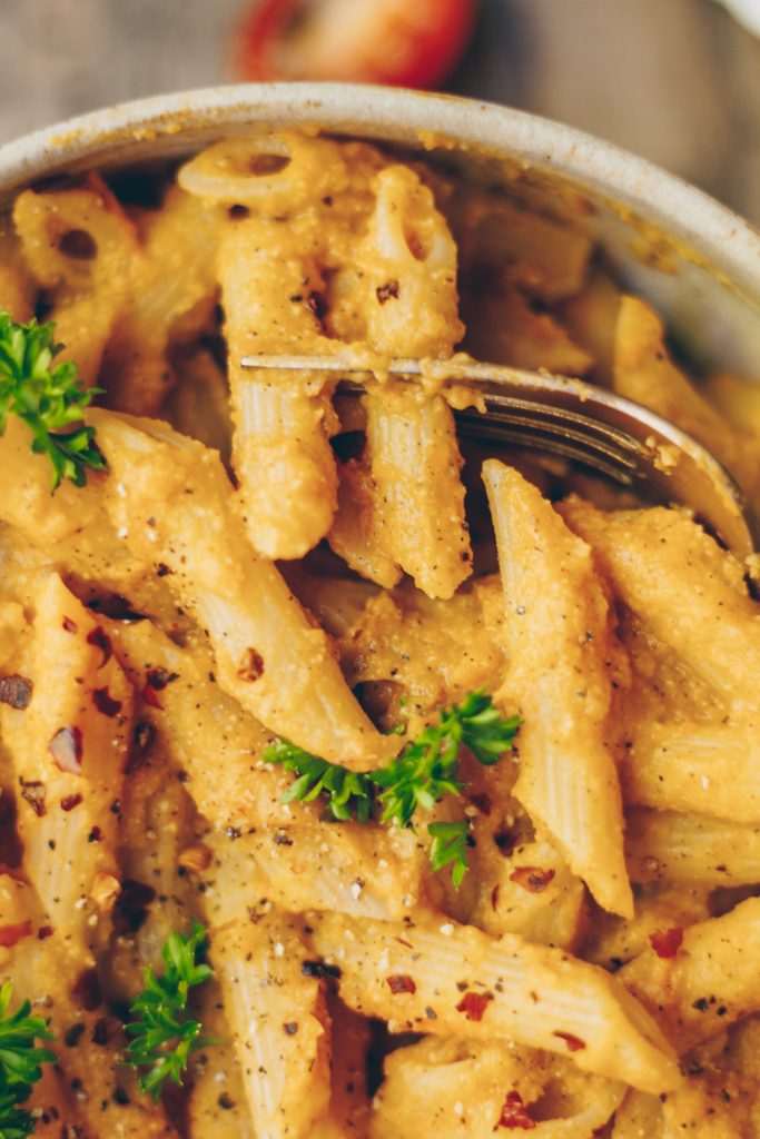 roasted butternut squash and tomato pasta