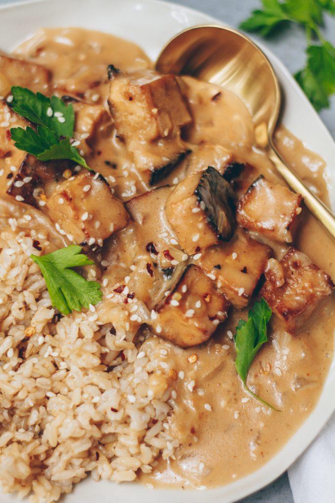creamy coconut peanut tofu