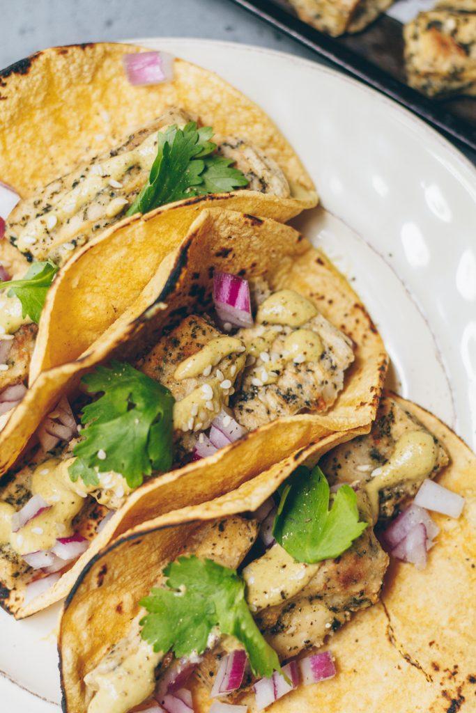 Vegan Fish Tacos with Herbed Cashew Crema