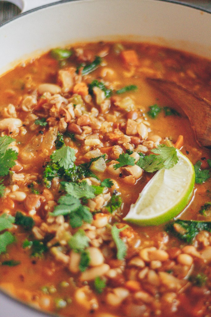 vegan farro and bean soup