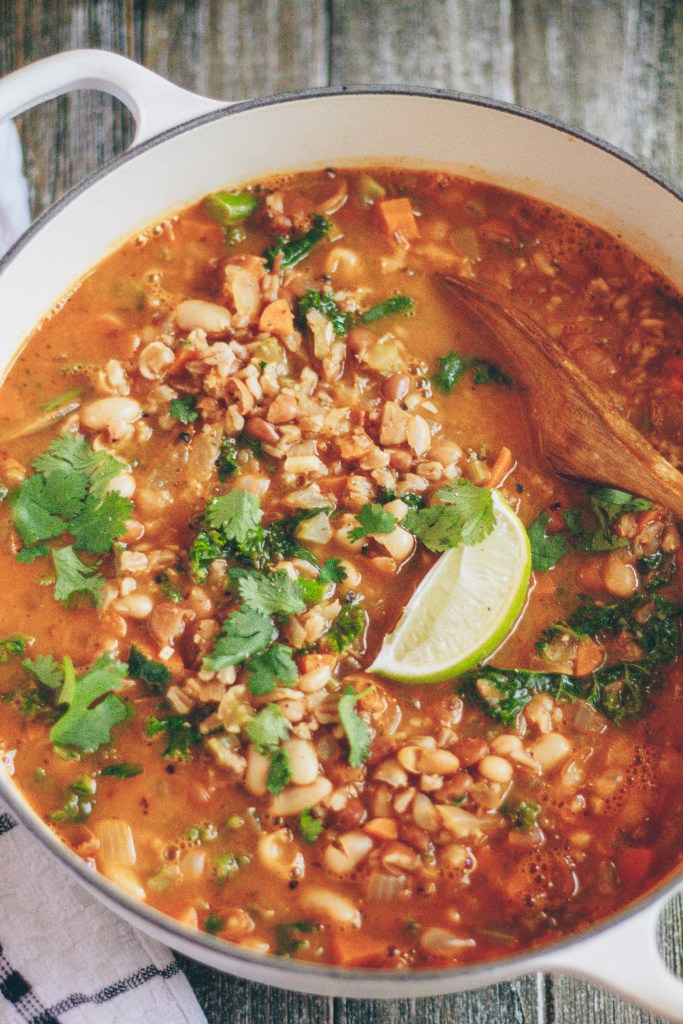 vegan farro and beans soup