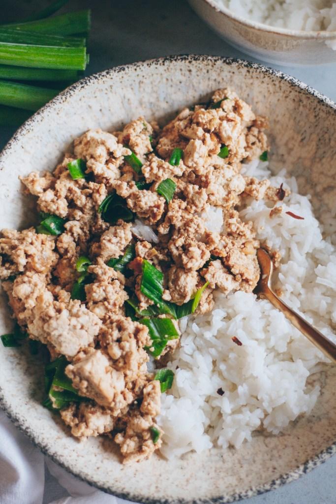 mongolian-style tofu scramble