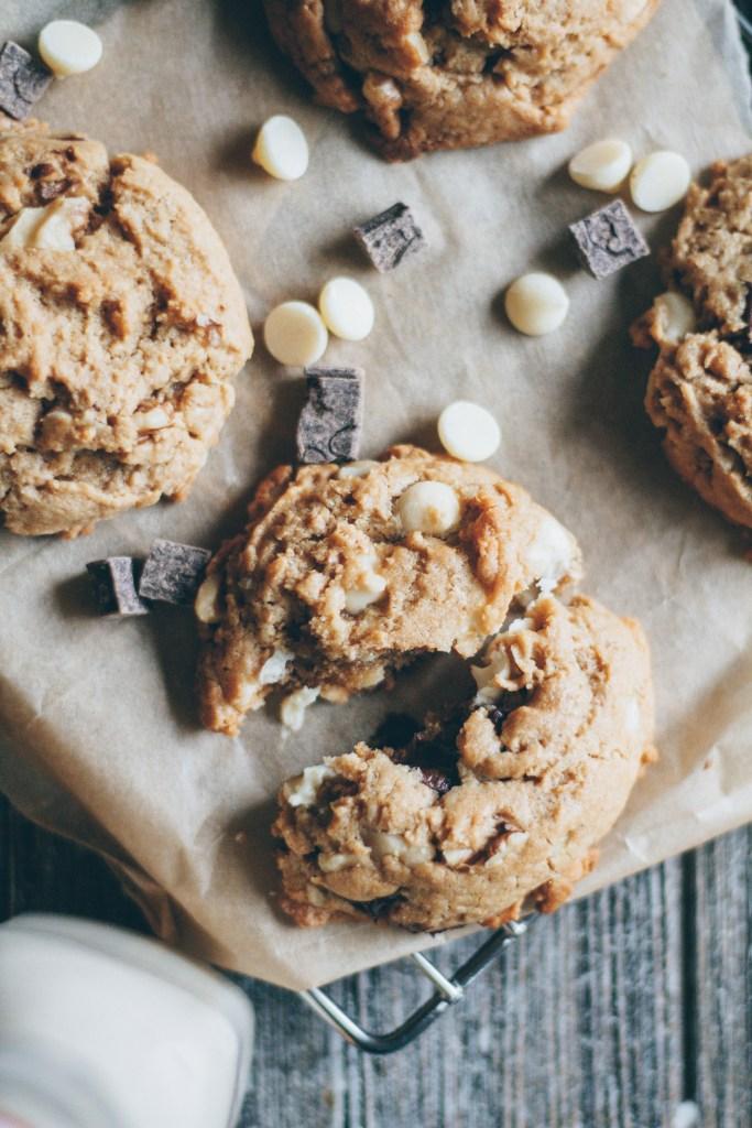 peanut butter walnut chocolate chip cookies