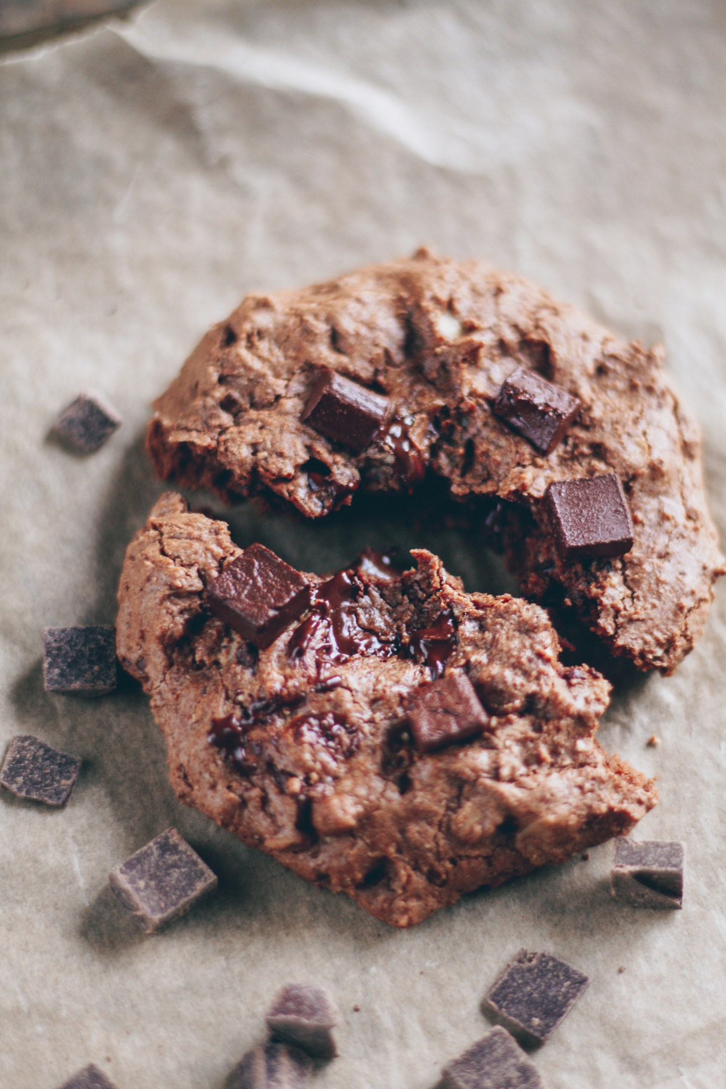 single-serving double chocolate chip cookie