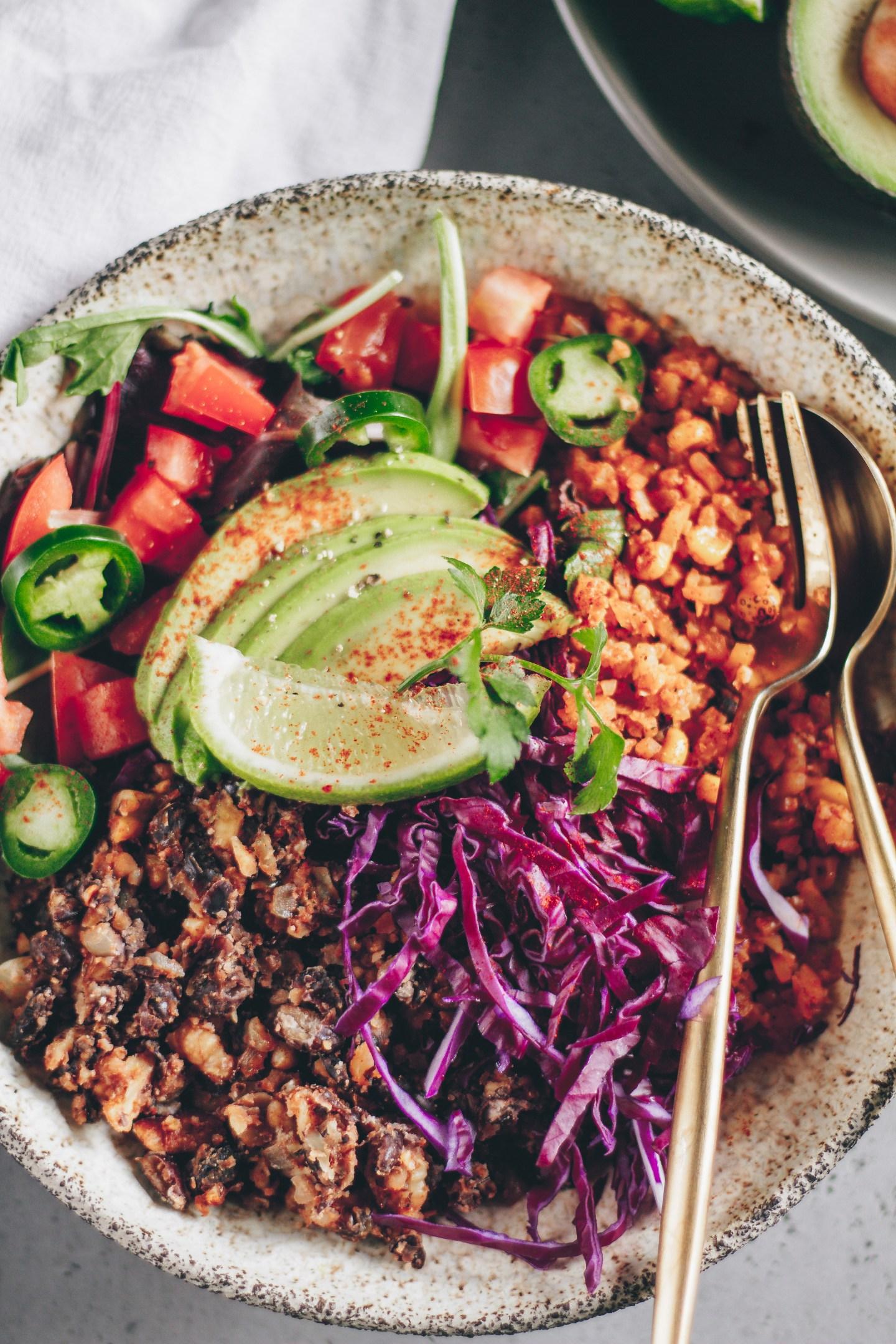 grain-free black bean fiesta bowl