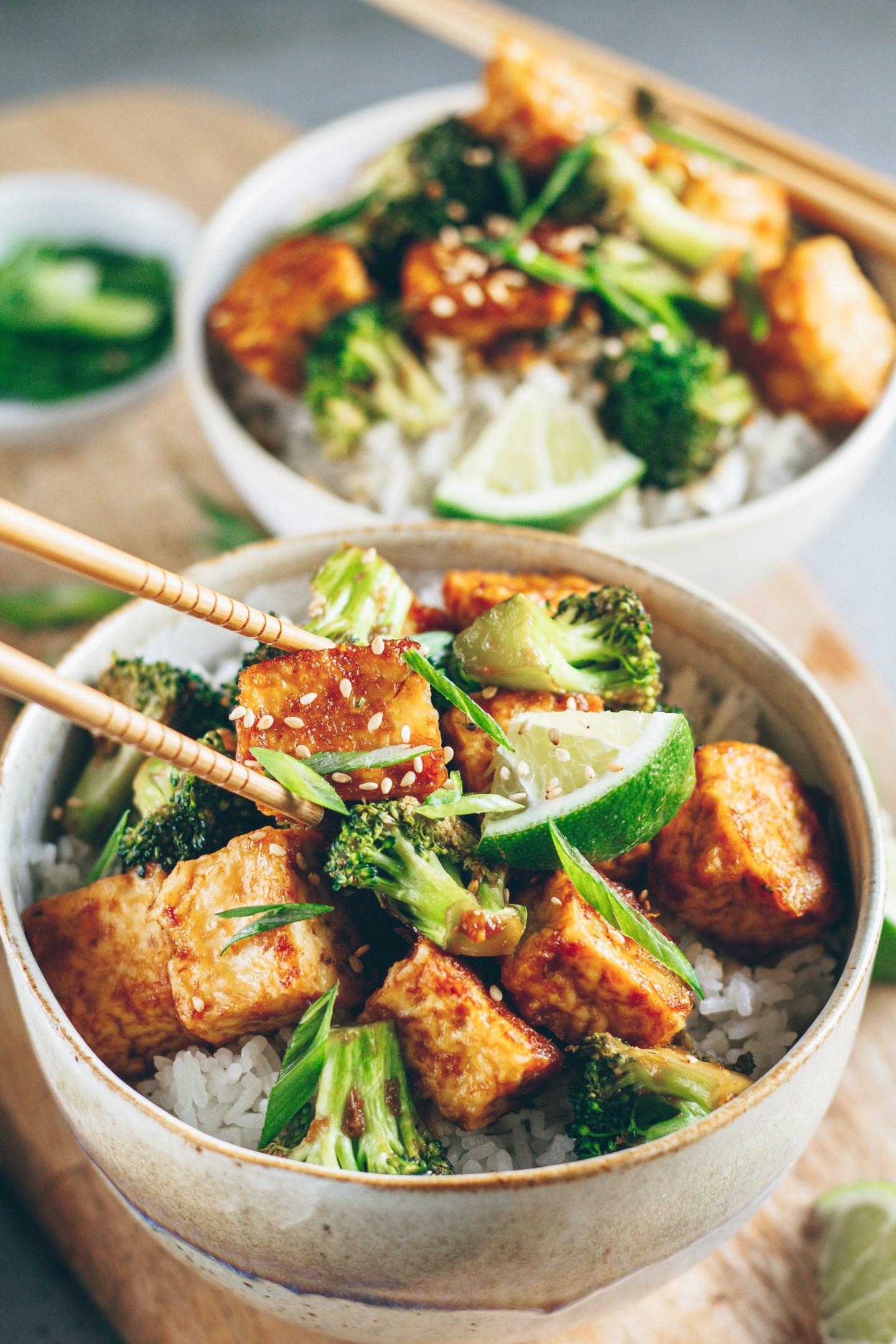 sticky tofu and broccoli bowl