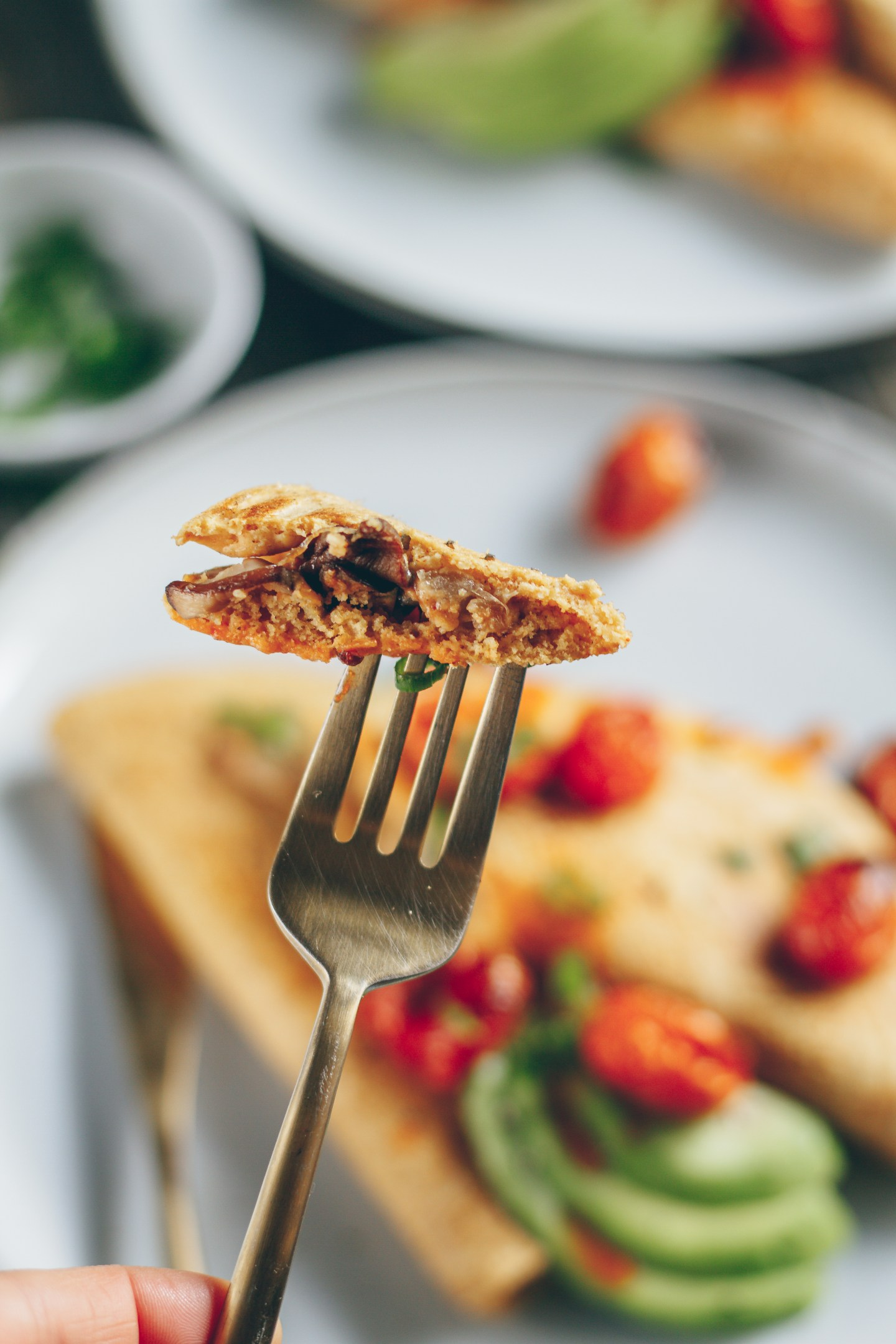 chickpea omelette with caramelized onion and mushrooms