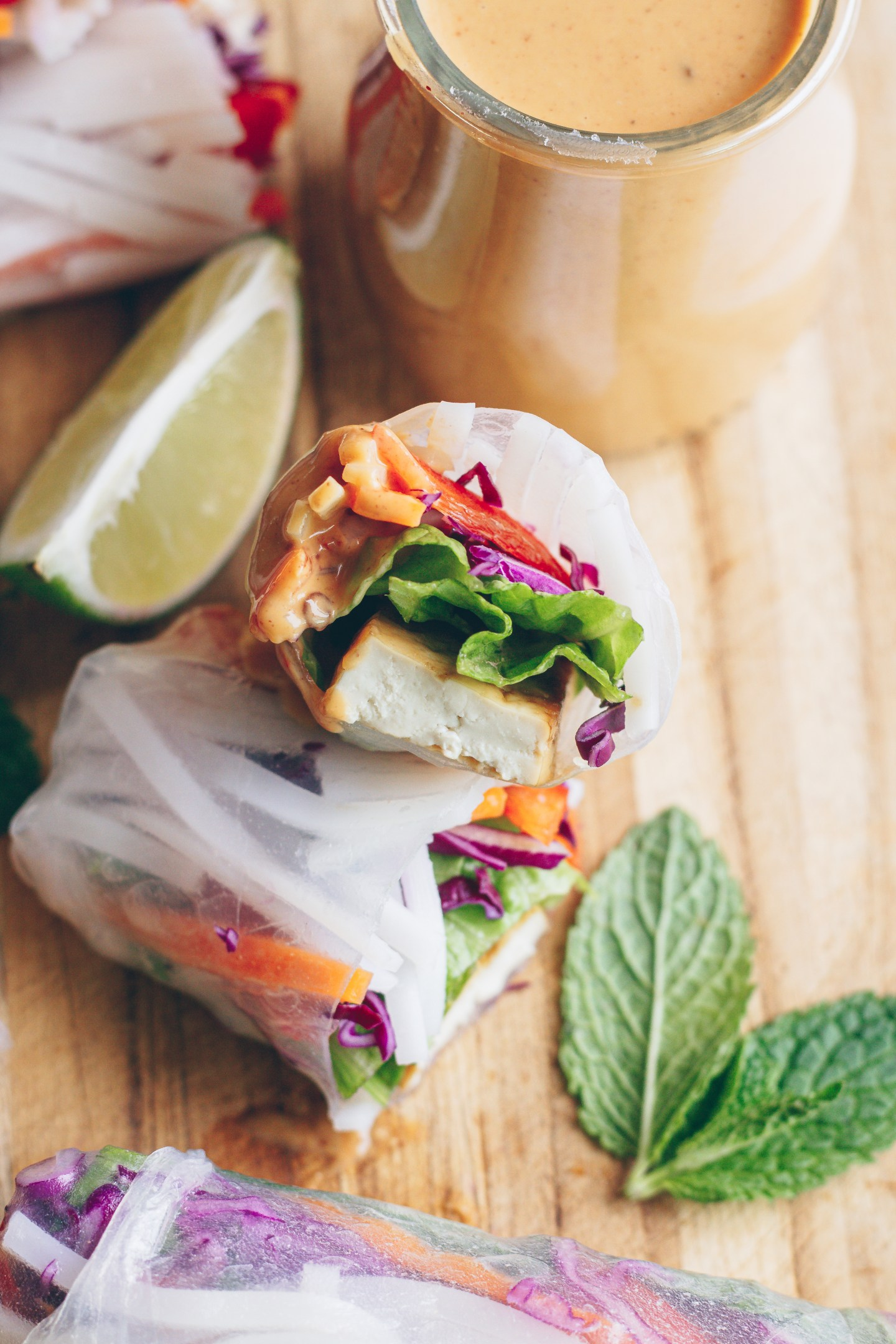 fresh spring rolls with crispy tofu